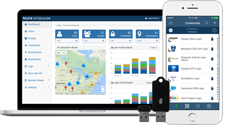 Bluink Enterprise dashboard, Bluink Key USB devices, and the Bluink Key smartphone app: key components of the secure all-in-one identity and access management solution.
