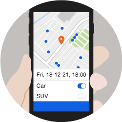 Car reservation mobile app showing nearby vehicles based on time and vehicle preference