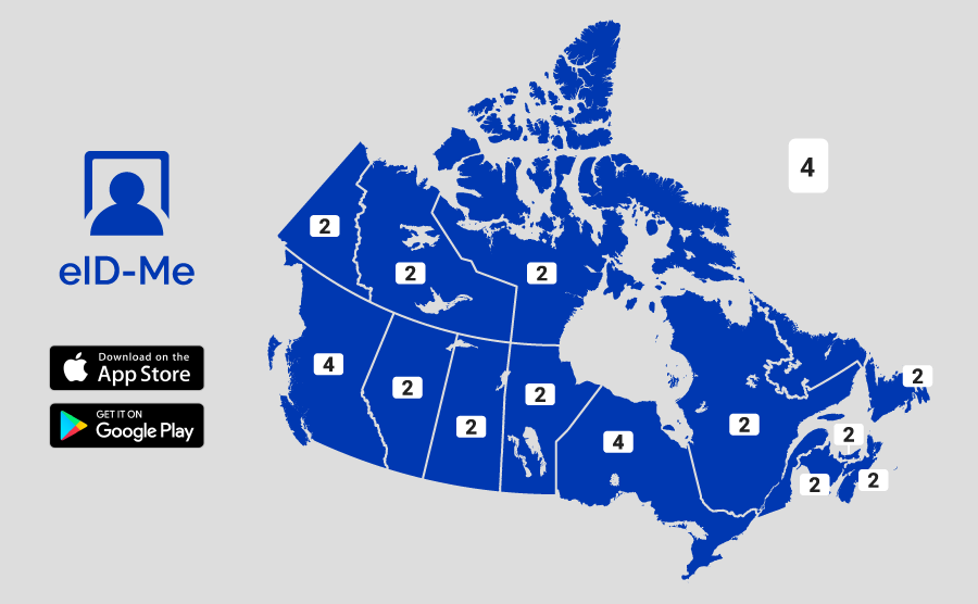 Map of Canada with numbers above each province and territory.