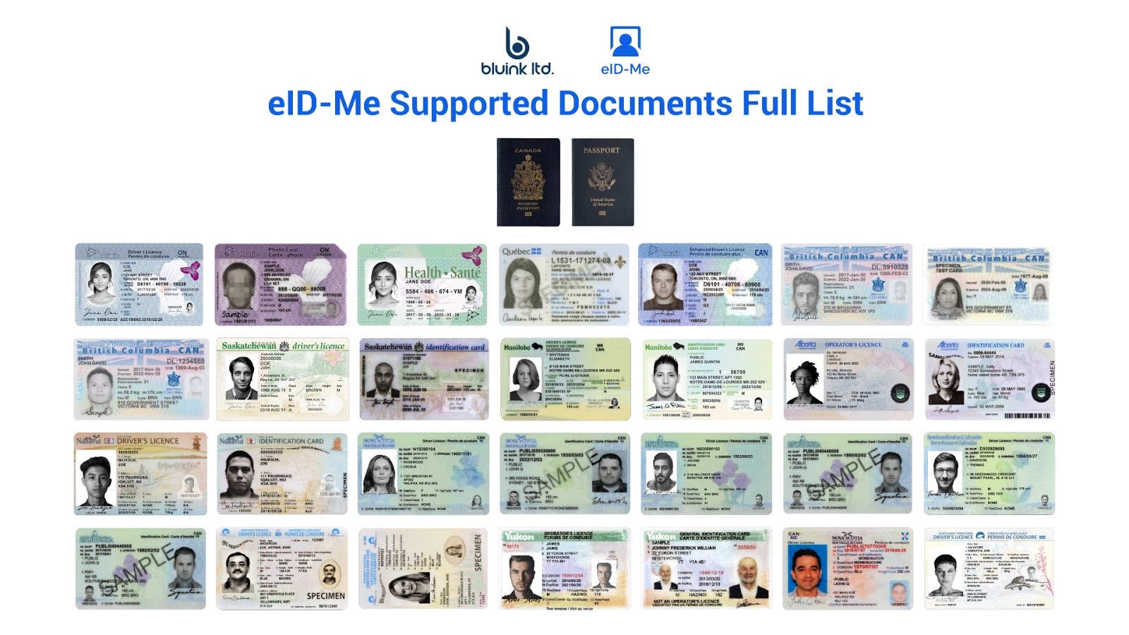 Passports, driver's licences, and photo identity cards from Canada