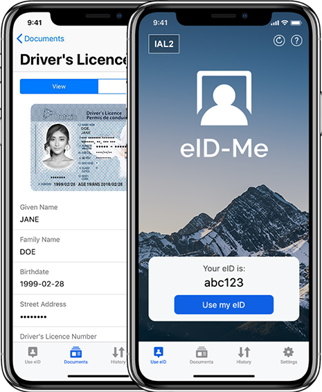Private, digital identity smartphone app that verifies and stores government identity information, such as driver's licence.