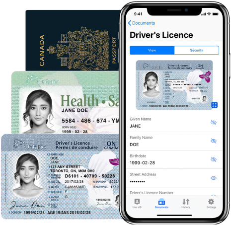Driver's licence, health card, and passport on a digital ID smartphone app