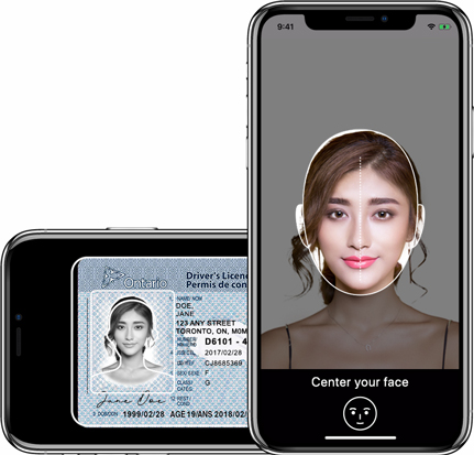 Driver's licence, health card, and passport on a digital ID smartphone app.