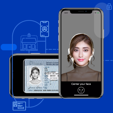 A mobile phone scanning an ID card and a mobile phone taking a selfie photo with fraud detection.
