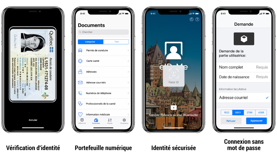 eID-Me Features: identity proofing, digital wallet, secured identity (phone biometric authentication method: Face ID/Touch ID), password-free login