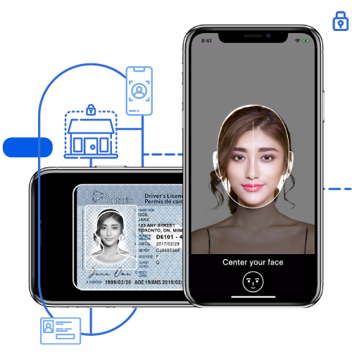 Mobile app scanning a driver's licence and taking a live selfie.