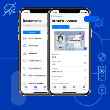 Mobile app with a digital driver's licence and ID info, including name, birthdate, and address.