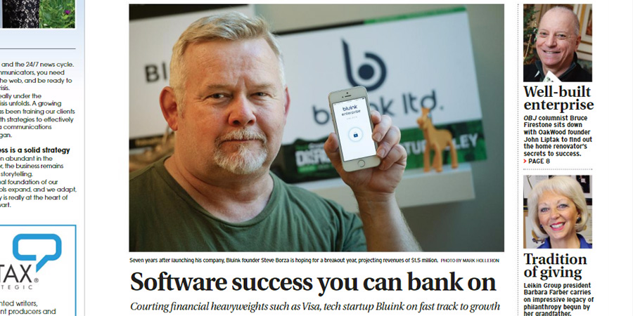 Image of the front page of the Ottawa Business Journal, featuring Bluink CEO, Steve Borza, holding his smartphone with the Bluink Enterprise app